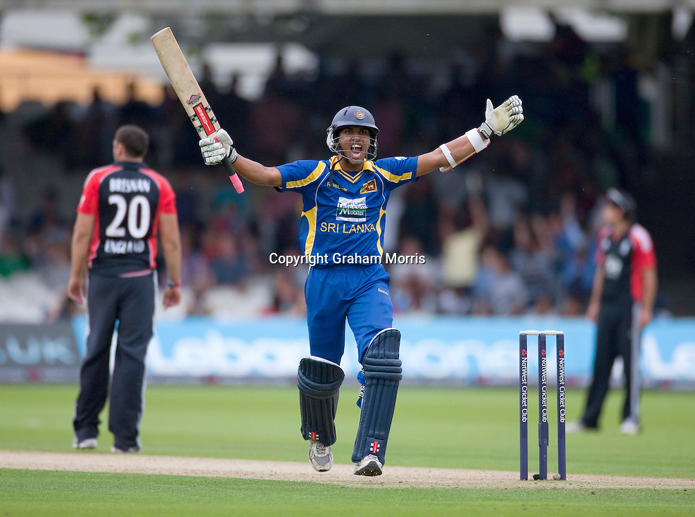 Dinesh Chandimal celebrates his century during the third one day international between England and Sri Lanka at Lord's, London. Photo: Graham Morris (Tel: +44(0)20 8969 4192 Email: sales@cricketpix.com) 03/07/11