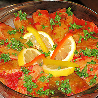 Mahshi Kromb - Stuffed cabbage rolls with rice and blend of spices. Traditional Egyptian dish,