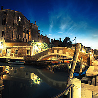 Where: Venice streets at night, Italy.<br />