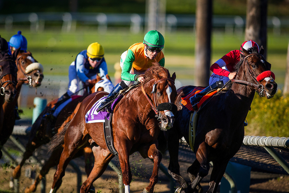 December 26, 2015: Om with Gary Stevens (green cap) overtakes Acceptance to win the Mathis Brothers Mile Stakes at Santa Anita Park, Arcadia CA. Evers/ESW/CSM