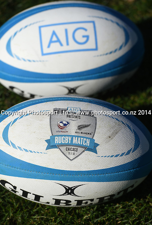 AIG branded rugby balls during training in Chicago today ahead of the test match between the All Blacks and the USA on Saturday. Chicago, USA. Tuesday 28 October 2014. Photo: Andrew Cornaga/www.Photosport.co.nz