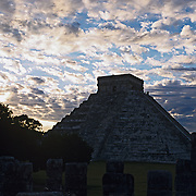 The castle pyramid at Chichen Itza..Yucatan, Mexico.