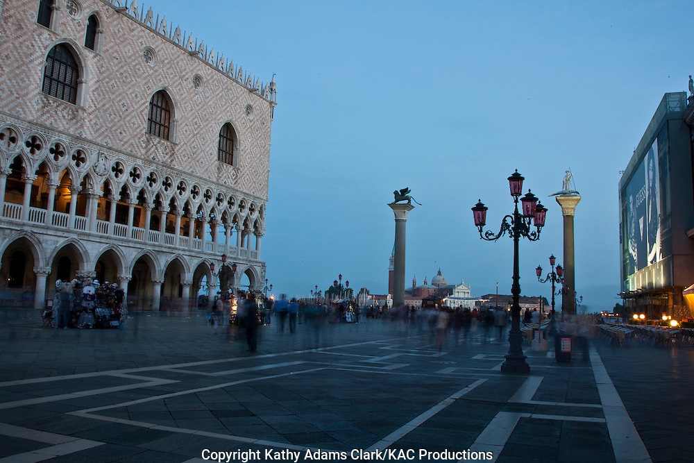 Doge's Palace, and the buildings around Piazza San Marco, or Saint Mark's Square, in Venice, Italy,
