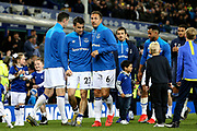Everton defender Seamus Coleman (23) and Everton defender Phil Jagielka (6) make their way round in the lap of appreciation during the Premier League match between Everton and Burnley at Goodison Park, Liverpool, England on 3 May 2019.