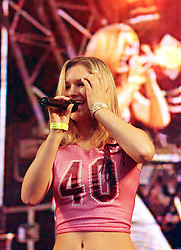 Singer Jo Breezer on Stage at the Radio Hallam Feel the Noise event held at the Don Valley Bowl Sheffield on August 25th 2001