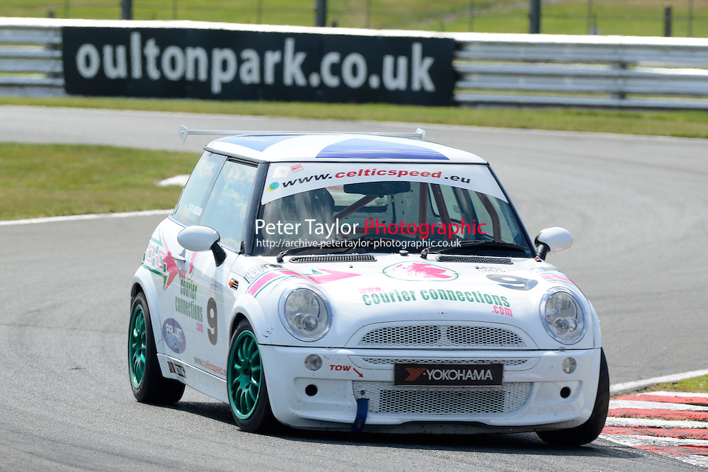 #9 Martin McGeough Mini Cooper during Celtic Speed Scottish Mini Cooper Cup - Race 1 as part of the Mini Festival  at Oulton Park, Little Budworth, Cheshire, United Kingdom. August 08 2015. World Copyright Peter Taylor. Copy of publication required for printed pictures.  Every used picture is fee-liable. http://archive.petertaylor-photographic.co.uk