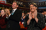 © Licensed to London News Pictures. 10/10/2012. Birmingham, UK (L) Jeremy Hunt, Health Secretary applauds Lord Sebastian Coe along with Maria Miller, The Secretary of State for Culture, Media and Sport at The Conservative Party Conference at the ICC today 10th October 2012. Photo credit : Stephen Simpson/LNP
