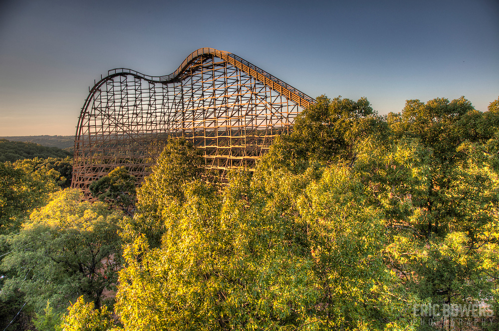 Outlaw Run roller coaster under construction at Silver Dollar City, Branson, Missouri.