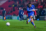 AFC Wimbledon forward Kwesi Appiah (9) passes the ball during the The FA Cup match between Doncaster Rovers and AFC Wimbledon at the Keepmoat Stadium, Doncaster, England on 19 November 2019.
