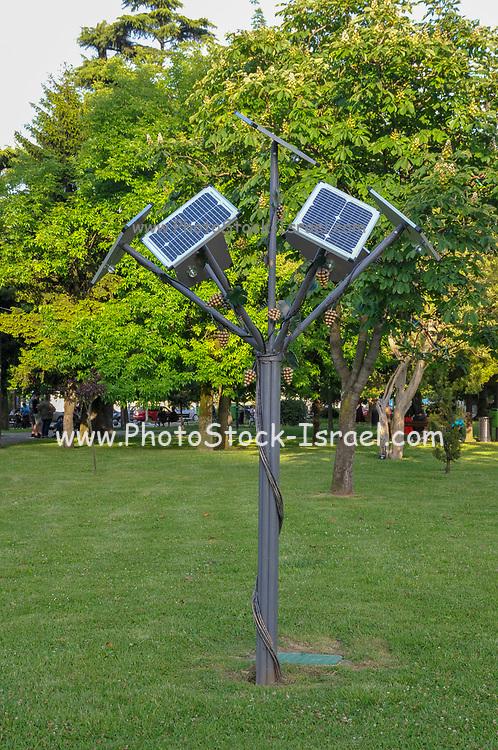 Solar tree, Solar collectors in a form of tree leafs. photographed in Nurigeli lake, Batumi, Georgia