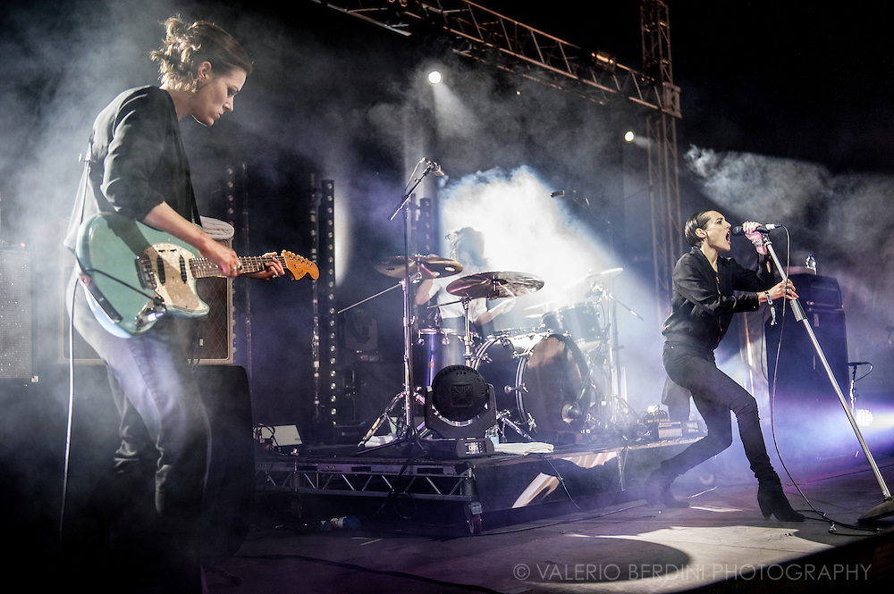 Savages live on stage at Field Day 2015 in Victoria Park, London