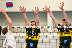 Freek de Weijer #8 of Dynamo, Sjors Tijhuis #5 of Dynamo in action in the second round between Sliedrecht Sport and Draisma Dynamo on February 29, 2020 in sports hall de Basis, Sliedrecht
