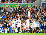 New Zealand player Charmaine Smith lines a line out  during the Women's Rugby World Cup 2017 match between England Women and New Zealand Women at Kingspan Stadium, Belfast, Northern Ireland on 26 August 2017. Photo by Ian  Muir.