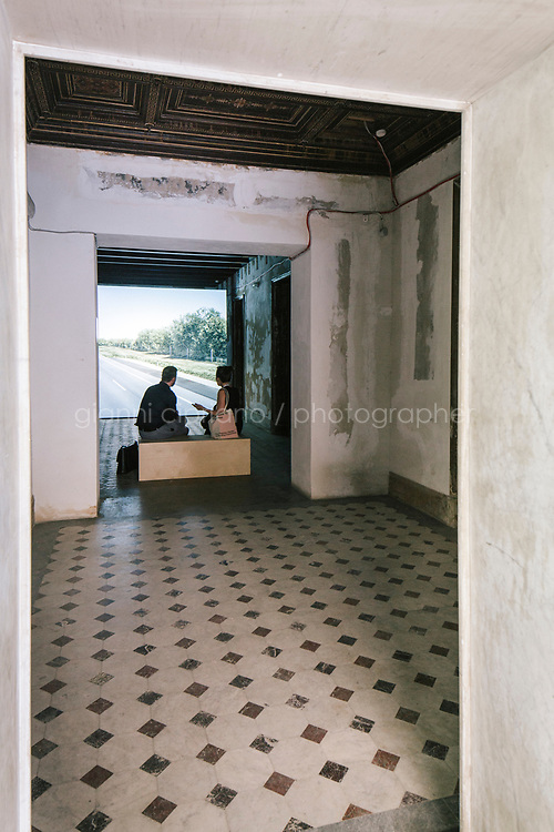 PALERMO, ITALY - 15 JUNE 2018: The entrance to the video simulation &quot;Untitled (near Parndorf, Austria)&quot; (2018 by artist John Gerrard is seen here at Palazzo Forcella De Seta during Manifesta 12, the European nomadic art biennal, in Palermo, Italy, on June 15th 2018.<br /> <br /> Manifesta is the European Nomadic Biennial, held in a different host city every two years. It is a major international art event, attracting visitors from all over the world. Manifesta was founded in Amsterdam in the early 1990s as a European biennial of contemporary art striving to enhance artistic and cultural exchanges after the end of Cold War. In the next decade, Manifesta will focus on evolving from an art exhibition into an interdisciplinary platform for social change, introducing holistic urban research and legacy-oriented programming as the core of its model.<br /> Manifesta is still run by its original founder, Dutch historian Hedwig Fijen, and managed by a permanent team of international specialists.<br /> <br /> The City of Palermo was important for Manifesta&rsquo;s selection board for its representation of two important themes that identify contemporary Europe: migration and climate change and how these issues impact our cities.