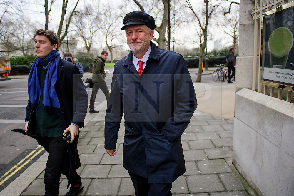 """© Licensed to London News Pictures. 10/01/2017. London, UK. Labour Party leader JEREMY CORBYN and JAMES SCHNEIDER of Momentum (left) seen leaving Milbank Studios in London after a television interview. Corbyn is due to give a speech on Brexit later today, arguing that the UK """"can be better off"""" after leaving the EU. Photo credit: Ben Cawthra/LNP"""