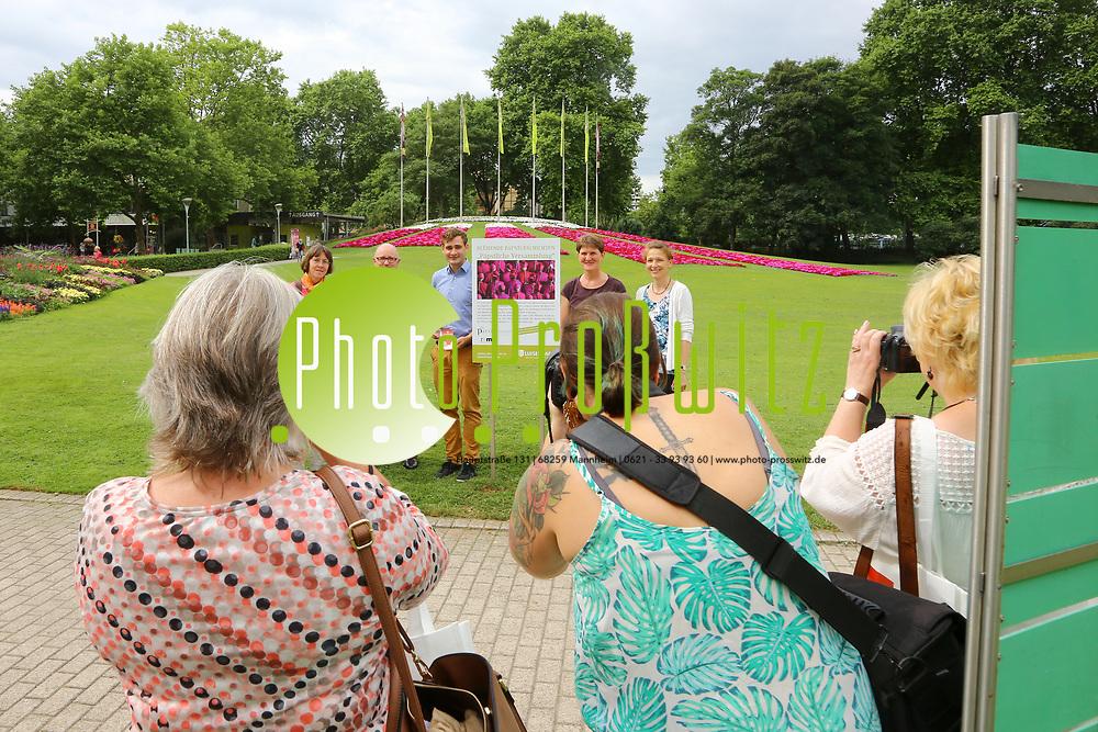 Mannheim. 27.06.17 | Bl&uuml;hende &quot;Papstgeschichten&quot;.<br /> Luisenpark. Bl&uuml;hende &quot;Papstgeschichten&quot;.<br /> Am Fahnenh&uuml;gel am Luisenpark-Haupteingang, wo eine sehr blumige &Uuml;bersetzung der p&auml;pstlichen Versammlung auf Sie wartet: Unsere G&auml;rtner haben sich bei der Beetplanung von den kardinalen, bisch&ouml;flichen und p&auml;pstlichen Farben Rot, Magenta und Wei&szlig; inspirieren lassen!<br /> Eine florale Erg&auml;nzung zur Ausstellung &bdquo;Die P&auml;pste und die Einheit der lateinischen Welt&ldquo;, die derzeit in den Reiss-Engelhorn-Museen gezeigt wird.<br /> <br /> BILD- ID 0494 |<br /> Bild: Markus Prosswitz 27JUN17 / masterpress (Bild ist honorarpflichtig - No Model Release!)