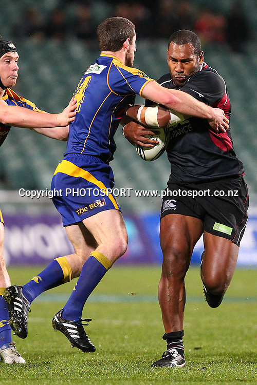 Harbour's Alipate Fatafehi fends off Otago's Joe Hill. ITM Cup rugby union match, North Harbour v Otago at North Harbour Stadium, Albany, Auckland, New Zealand. Thursday 19th August 2010. Photo: Anthony Au-Yeung/PHOTOSPORT