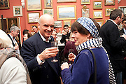NICHOLAS COLERIDGE; MIN HOGG, Party to celebrate the publication of Animal Magic by Andrew Barrow. Tite St. London. 28 February 2011.  -DO NOT ARCHIVE-© Copyright Photograph by Dafydd Jones. 248 Clapham Rd. London SW9 0PZ. Tel 0207 820 0771. www.dafjones.com.