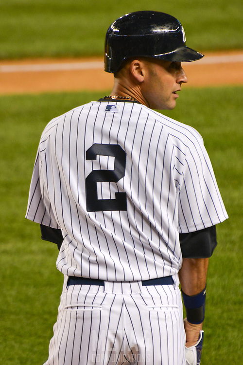 Derek Jeter prepares for his first at-bat in his final game.