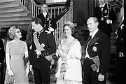 An Taoiseach Jack Lynch welcomes King Baudouin and Queen Fabiola of Belgium to Dublin Castle for a State Banquet held in their honour..15.05.1968
