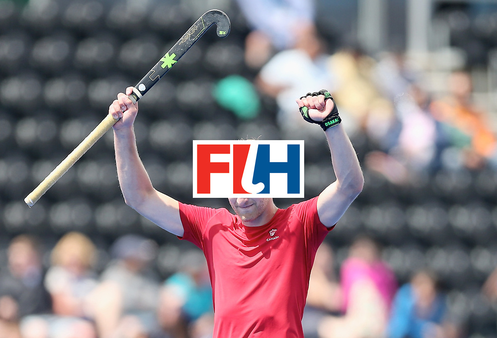 LONDON, ENGLAND - JUNE 25: Mark Pearson of Canada celebrates after the 5th/6th place match between India and Canada on day nine of the Hero Hockey World League Semi-Final at Lee Valley Hockey and Tennis Centre on June 25, 2017 in London, England. (Photo by Alex Morton/Getty Images)
