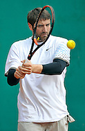 TV PRESENTER MACIEJ DOWBOR PLAYS TENNIS DURING VIP TOUTNAMENT WHILE  INTERNATIONAL WOMEN TENNIS TOURNAMENT WTA POLSAT WARSAW OPEN AT LEGIA'S COURTS IN WARSAW, POLAND...WARSAW , POLAND , MAY 20, 2010..( PHOTO BY ADAM NURKIEWICZ / MEDIASPORT )..PICTURE ALSO AVAIBLE IN RAW OR TIFF FORMAT ON SPECIAL REQUEST.