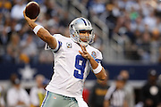 Dallas Cowboys quarterback Tony Romo (9) throws a pass down the field against the Pittsburgh Steelers at Cowboys Stadium in Arlington, Texas, on December 16, 2012.  (Stan Olszewski/The Dallas Morning News)
