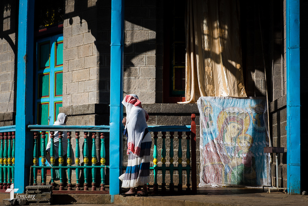 Worshippers gather at the Entoto Maryam Church, on the foot of Mount Entoto in Addis Ababa, Ethiopia, on Sunday, Nov. 9, 2014. LCMS Communications/Erik M. Lunsford