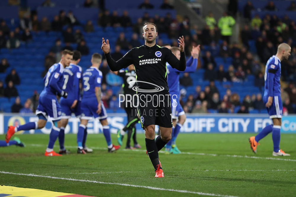 Brighton & Hove Albion centre forward Glenn Murray (17) looks frustrated, looks dejected after his goal is ruled out during the EFL Sky Bet Championship match between Cardiff City and Brighton and Hove Albion at the Cardiff City Stadium, Cardiff, Wales on 3 December 2016.