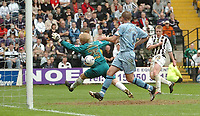 Photo: Leigh Quinnell.<br /> Notts County v Bury. Coca Cola League 2. 06/05/2006.<br /> Notts Countys Dan Martin fires past Bury keeper Kasper Schmeichel to score a goal.