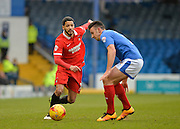 Leyton Orient Midfielder Jobi McAnuff and Portsmouth defender Enda Stevens during the Sky Bet League 2 match between Portsmouth and Leyton Orient at Fratton Park, Portsmouth, England on 6 February 2016. Photo by Adam Rivers.