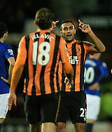 Nikica Jelavic of Hull City celebrates his goal with Ahmed Elmohamady to make it 2-0 to Hull during the Barclays Premier League match at KC Stadium, Hull<br /> Picture by Richard Gould/Focus Images Ltd +44 7855 403186<br /> 01/01/2015