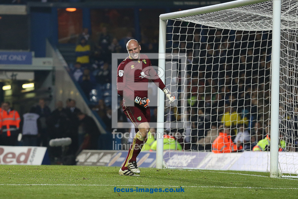 John Ruddy of Norwich is happy to see a penalty by Liam Bridcutt of Leeds United go over the crossbar during the EFL Cup match at Elland Road, Leeds<br /> Picture by Paul Chesterton/Focus Images Ltd +44 7904 640267<br /> 25/10/2016