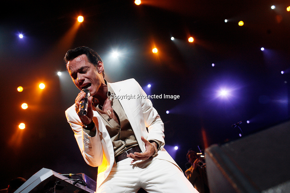Singer Marc Anthony performs at Madison Square Garden in New York, August 21, 2008. Fybish was facing eviction for having an overcrowded apartment. Photo by Keith Bedford for The New York Times