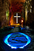 Colombia, Zipaquira, Cudinamarca Province, Salt Cathedral, Main Altar With Cross, The Creation Of Man Sculpture, Salt Mine