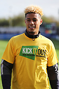 AFC Wimbledon striker Lyle Taylor (33) warming up during the EFL Sky Bet League 1 match between AFC Wimbledon and Plymouth Argyle at the Cherry Red Records Stadium, Kingston, England on 21 October 2017. Photo by Matthew Redman.