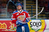 KELOWNA, CANADA - FEBRUARY 22: Tyler Robertson #21 of the Edmonton Oil Kings warms up against the Kelowna Rockets on February 22, 2017 at Prospera Place in Kelowna, British Columbia, Canada.  (Photo by Marissa Baecker/Shoot the Breeze)  *** Local Caption ***
