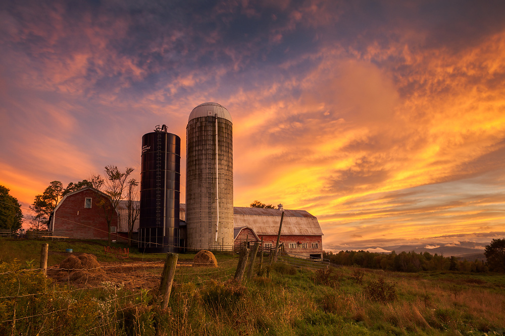colorful sunset over Sparrow Farm in East Montpelier, Vermont