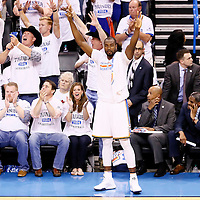 08 May 2016: Oklahoma City Thunder forward Serge Ibaka (9) celebrates during the Oklahoma City Thunder 111-97 victory over the San Antonio Spurs, during Game Four of the Western Conference Semifinals of the NBA Playoffs at the Chesapeake Energy Arena, Oklahoma City, Oklahoma, USA.