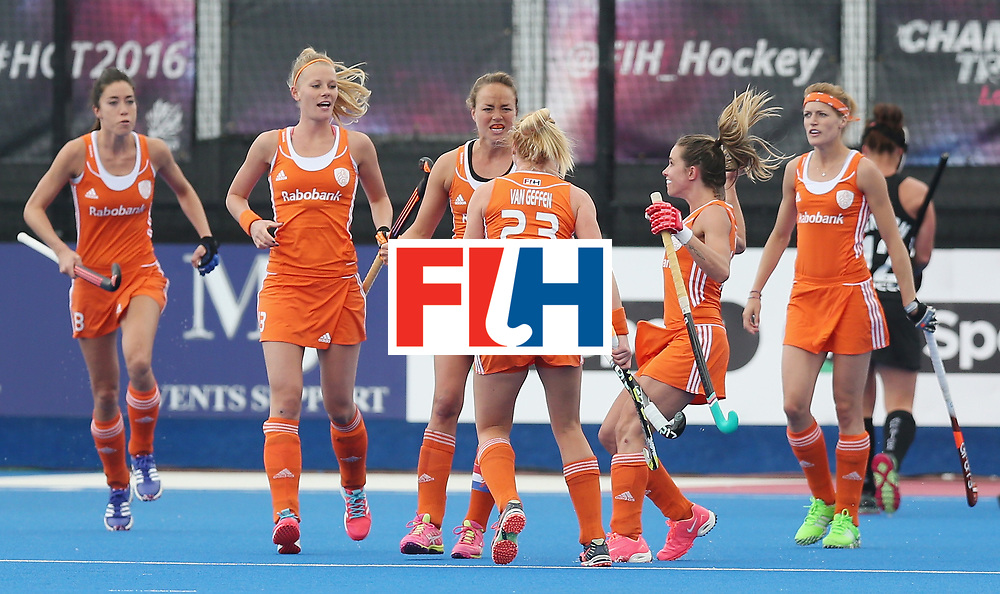 LONDON, ENGLAND - JUNE 18:  Maartje Paumen of Netherlands celebrates scoring their first goal during the FIH Women's Hockey Champions Trophy match between Netherlands and New Zealand at Queen Elizabeth Olympic Park on June 18, 2016 in London, England.  (Photo by Alex Morton/Getty Images)