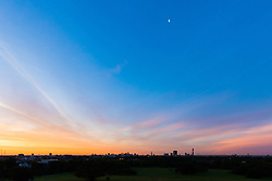 London, August 16 2017 . London wakes up to a glorious sunrise, photographed from Primrose Hill. © Paul Davey.