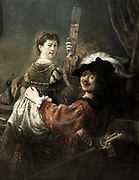 Rembrandt and Saskia in  representation of the Prodigal Son in the Tavern', c1635. Oil on canvas. Rembrandt Harmenszoon van Rijn (1606-1669) Dutch painter and etcher. Self-Portrait Religion Christian Parable Glass Alcohol