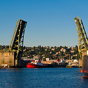 Ballard drawbridge opens for ship traffic, Seattle, Washington