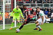 Jermain Defoe (18) of AFC Bournemouth looking to shoots at goal as James McArthur (18) of Crystal Palace comes to make a challenge during the Premier League match between Bournemouth and Crystal Palace at the Vitality Stadium, Bournemouth, England on 7 April 2018. Picture by Graham Hunt.