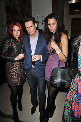 Left to right, AMY MOLYNEAUX, PERCY PARKER and JOY VIELLI at Mulberry's party following their fashion show as part of London Fashion Week Autumn Winter Collection 2011 held at Claridges, Brook Street, London on 20th February 2011.