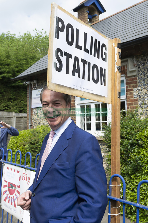 May 23, 2019 - Biggin Hill, Kent, United Kingdom - 23/05/2019. Biggin Hill, UK. Brexit party leader Nigel Farage arrives at a polling station in Biggin HIll to vote in the European Elections. Photo credit: Ray Tang Media (Credit Image: © Ray Tang/ZUMA Wire)