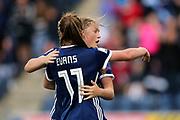 Lisa Evans (#11) of Scotland congratulates Erin Cuthbert (#22) of Scotland on scoring Scotland's second goal (2-1) during the FIFA Women's World Cup UEFA Qualifier match between Scotland Women and Belarus Women at Falkirk Stadium, Falkirk, Scotland on 7 June 2018. Picture by Craig Doyle.