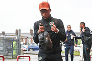Forest Green Rovers Udoka Godwin-Malife(22) arrives at the ground during the EFL Sky Bet League 2 match between Crewe Alexandra and Forest Green Rovers at Alexandra Stadium, Crewe, England on 27 April 2019.