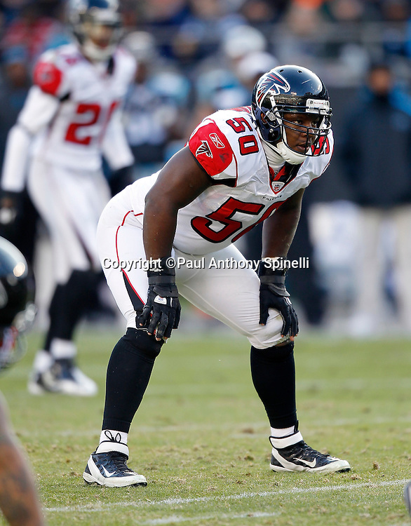 Atlanta Falcons middle linebacker Curtis Lofton (50) gets set for the snap during the NFL week 14 football game against the Carolina Panthers on Sunday, December 11, 2011 in Charlotte, North Carolina. The Falcons won the game 31-23. ©Paul Anthony Spinelli