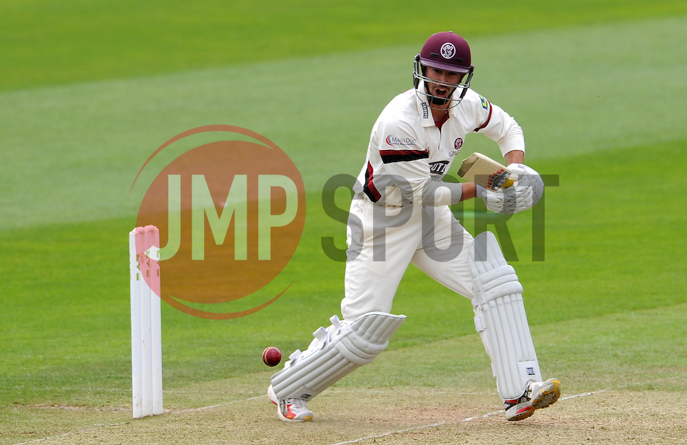 Somerset's Alex Barrow hits the ball. Photo mandatory by-line: Harry Trump/JMP - Mobile: 07966 386802 - 09/05/15 - SPORT - CRICKET - Somerset v New Zealand - Day 2- The County Ground, Taunton, England.
